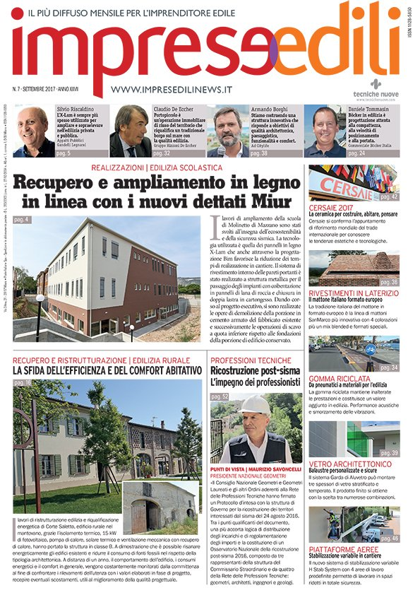 Copertina Imprese Edili del 7-09-2017 sui lavori di restauro a Ca' Bottacin dell'Università di Venezia