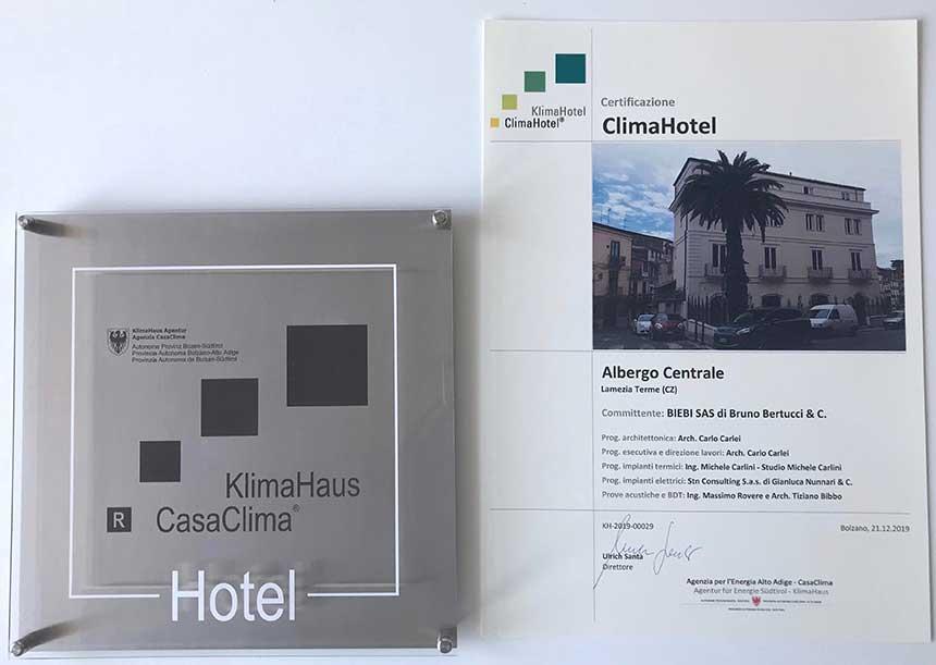 Sistema AERcoppo® per il ClimaHotel Albergo Centrale Lamezia Terme (CZ) 2019